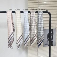 실키 줄무늬 숏 쁘띠 핑크 데일리 미시 패션 스카프