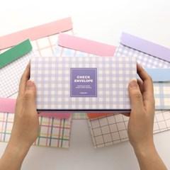 핑크풋 체크 가로 봉투세트(96매)