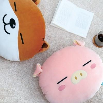 [꿀잠쿠션] 모찌라이독/모찌라이피그 얼굴쿠션 40cm (2종택1)