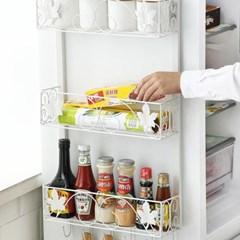 냉장고 선반 옆면 철제 벽걸이형 다층 수납걸이 2단 (블