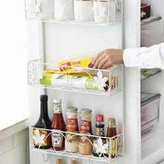 냉장고 선반 옆면 철제 벽걸이형 다층 수납걸이 3단 (화