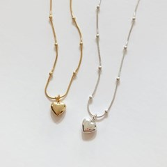 [92.5 silver & 14k gold plated] Plump heart necklace