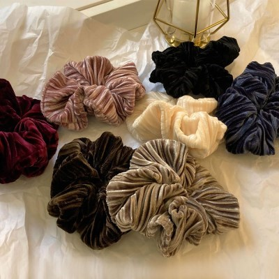 [7 color] 벨벳 고급 국내제작 주름 풍성 스크런치 곱창 밴드 머리끈