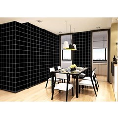 격자무늬 셀프도배 벽 시트지(3M-블랙)/ 접착식벽지