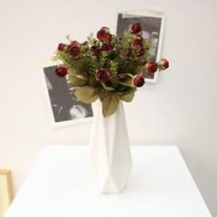 엘레강스 붉은 말린장미꽃 조화부쉬