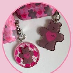 [뮤즈무드] argyle bear key ring (키링)