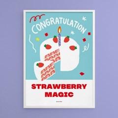 콩그레츄레이션3 M 유니크 디자인 포스터 딸기 케이크 카페 베이커리