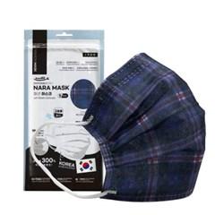 NARA 국산 3중 필터 패션마스크-블루체크