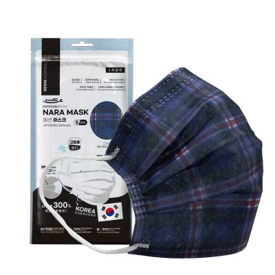 NARA 국산 3중 필터 패션마스크 5P -블루체크