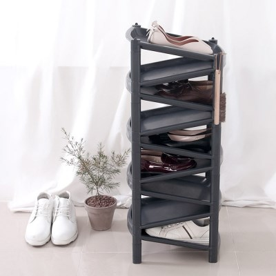 모던 심플 지그재그 스마트 신발정리대 9단 블랙