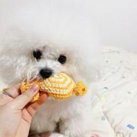 개달당 삑삑이 사탕 강아지 장난감 뜨개 핸드메이드 장난감 펫토이