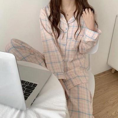 덴크롱 여성잠옷 체크 긴팔 홈웨어 파자마세트_(2523011)