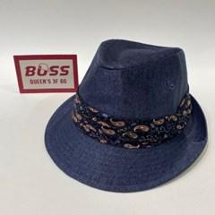 페이즐 띠 챙넓은 블랙 블루 패션 페도라 중절모 모자