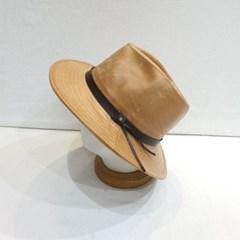 베이지 가죽띠 챙넓은 꾸안꾸 페도라 중절모 모자