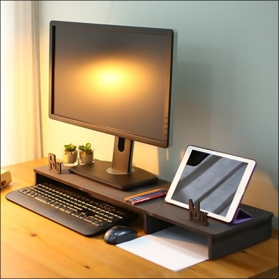 런메이크 와이드 모니터받침대-듀얼 거치대 선반 수납 노트북