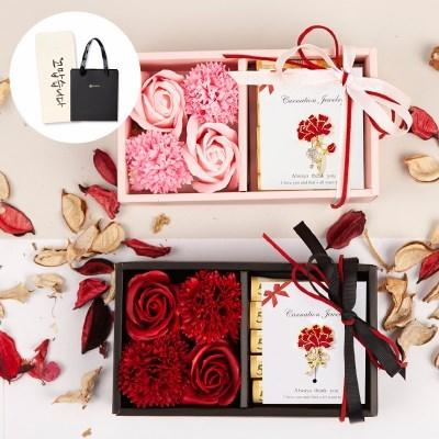 [브로치+쇼핑백+봉투] 어버이날 카네이션 비누꽃 용돈박스