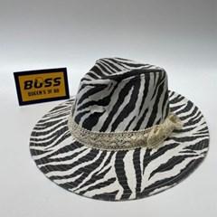 레이스 띠 화이트 챙넓은 밀짚모자 라피아햇 모자