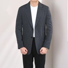 봄 남자 스탠다드핏 테일러드카라 잔체크 트임 싱글자켓