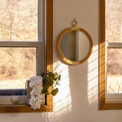 라탄 우드 원형 벽걸이 거울