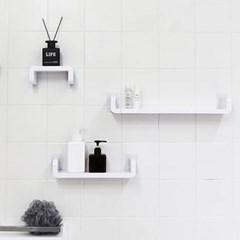 무타공 부착하는 화이트 욕실선반 3Size+스티커2P