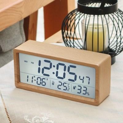 유즈비 리얼우드 LCD 온습도알람시계 시간 날짜 인테리어소품 집들이
