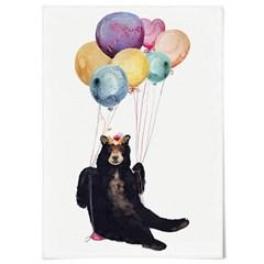 패브릭 포스터 F335 동물 그림 일러스트 액자 풍선 곰