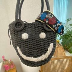 스마일 블랙 베이즈 데일리 패션 라탄 토트백 가방