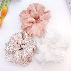 [3개세트][3color] 분홍 살랑 벚꽃 플라워 곱창 머리끈 세트