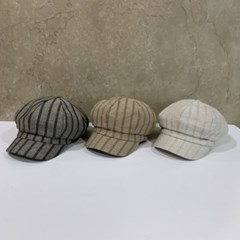 블랙 베이지 세로줄 데일리 헌팅캡 마도로스 모자