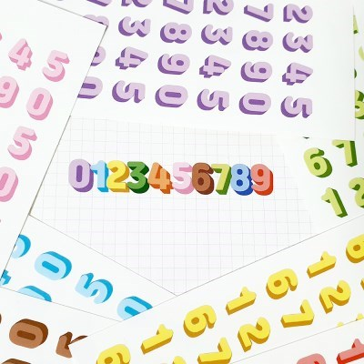[풀세트] 겹쳐쓰는 숫자 그림자 스티커(컬러ver)-10컬러