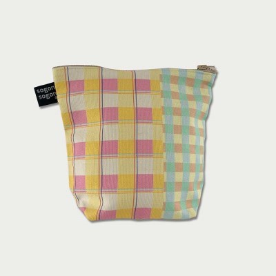 vintage check pouch