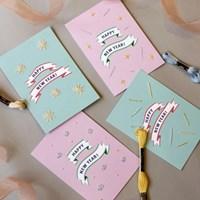 캔디팡팡 러블리 해피뉴이어 신년 프랑스자수카드2장 만들기 DIY KIT