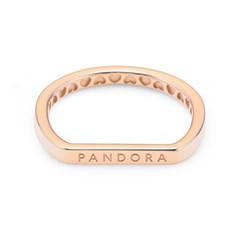 판도라 189048C00 시그니처 로고 스태킹 로즈골드 반지