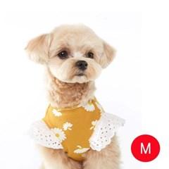 강아지 플라워 엔젤 티셔츠 옐로우 M