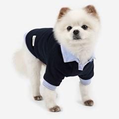 셔츠 카라티 티셔츠 네이비 애견의류 강아지 실내복