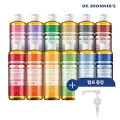 [닥터브로너스] 퓨어 캐스틸 솝 475ml+펌프 (향선택)