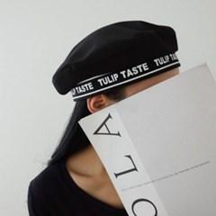 코튼 레터링 화이트 블랙 데일리 패션 베레모 모자