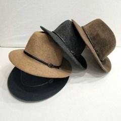 벨트 챙넓은 심플 브라운 블랙 중절모 페도라 모자