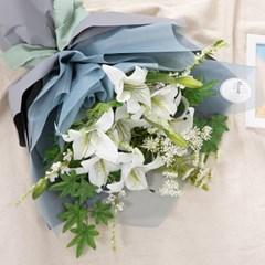 에비겔백합꽃다발 60cmP 조화 성묘 꽃다발 FMBBFT