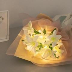 LED아이린백합꽃다발 50cmP 조화 성묘 꽃다발 FMBBFT