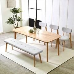 덴버 원목식탁 테이블 1800 세트(벤치2개 포함)