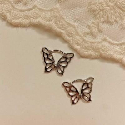 [봄밤달] 원터치 버터플라이 귀걸이 (은도금제품)