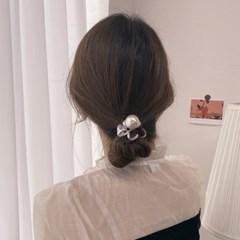 자국 없는 전화선 오로라 포니테일 진주 머리끈 1pcs