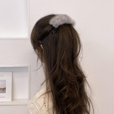 리얼 밍크 퍼 반묶음 자동핀 한묶음 머리핀