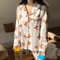 베베 곰돌이 면 홈웨어 여성 잠옷 세트