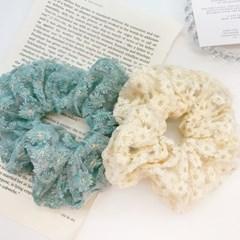 [1+1][5color] 데이지꽃 자수 단델리온 플라워 곱창 스크런치 머리끈