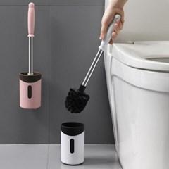욕실 청소 스테인레스 물빠짐 변기솔+무타공 이지 벽걸이 세트