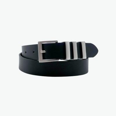언비데이 여성용 쓰리립 레더 벨트 - 블랙