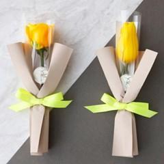 꽃한송이에 사랑을담아 옐로꽃다발 튤립&장미 (생화) [전국택배]
