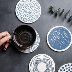 테이블 인테리어 블루 규조토 코르크 컵받침 코스터 4p